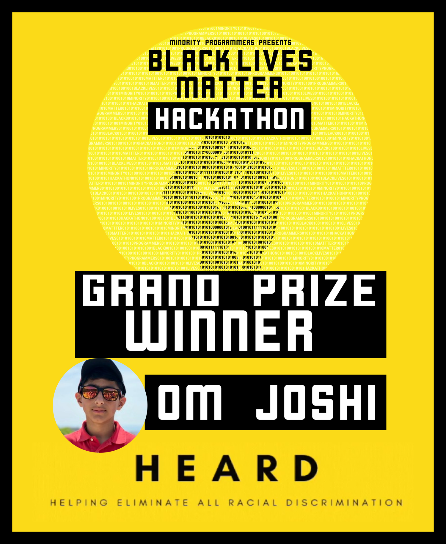 Om Janshi wins the Black Lives Matter Hackathon with HEARD App
